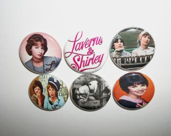 "Laverne and Shirley 1"" button set of 6 one inch pin back badges classic tv show lover gift"