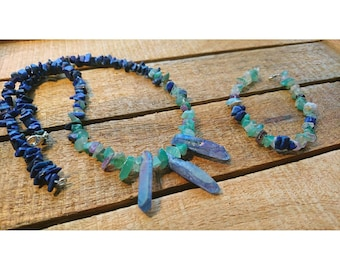 Mermaid Crystal Necklace and Bracelet Set