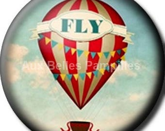 """Round cabochon resin 25 mm - """"fly"""" stick (1069) - air balloon, gift, gift."""
