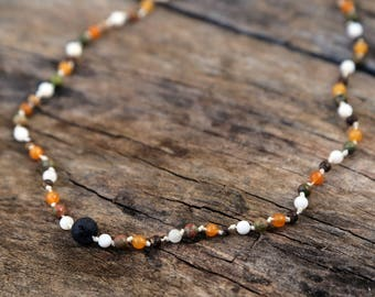 Diffuser necklace with real gemstones