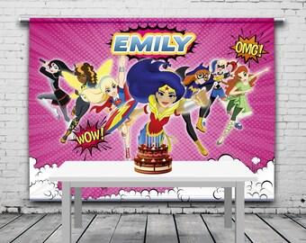 Pink Girl Superheroes Birthday Backdrop, DC Super Hero Girls, Personalized Banner, Theme, Photo Props, Birthday Banner, 8'x6' Vinyl Banner