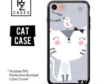 Cat Phone Case, Cute Cat Phone Case, Bird Phone Case, iPhone 7, Animal, Cat Lover, Gift for Her, iPhone 7 Plus, iPhone 6S, Rubber, Bumper