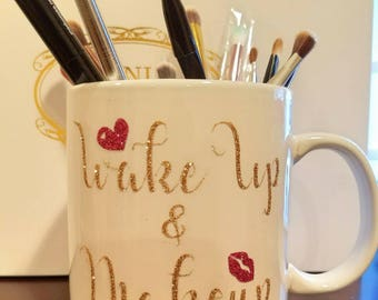 Glitter Dipped Mug Alhamdulillah Always - Vinyl cup brush