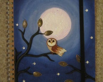 Polymer Clay Barn Owl in Moonlight Journal