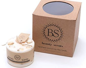 Jasmine scented candle with sea shells