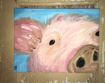 Pink Pig 12x16 acrylic painting