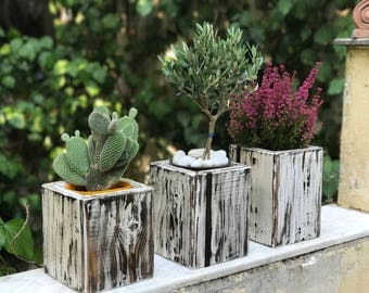 Rectangular Wooden Plant Boxes with Leather detail | Garden Deco | Flower pot | Candle Holder | Wooden Planter | Country Style Wooden Box