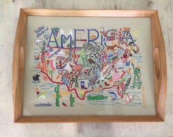 Catstudio Brand- America map serving tray- Bamboo- Rare