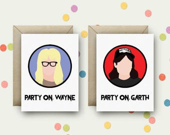 Wayne's World Pair Pop Art and Quote A6 Blank Greeting Cards with Envelopes