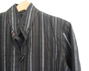 Black Striped Quilted Jacket Handmade in 1970s