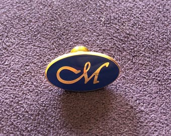 Gold and Blue 'M' or 'W' Pin