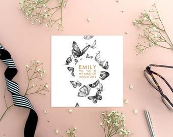 Personalised Butterfly 'Will You Be My Maid of Honour? Greeting Card, Wedding Card, Wedding Stationery, Maid of Honour Proposal, On The Day
