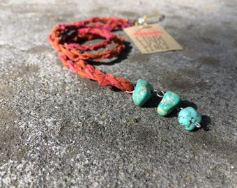 Upcycled fabric necklace with raw turquoise beads