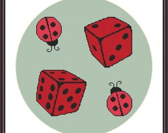 Ladybug dice cross stitch pdf instant download