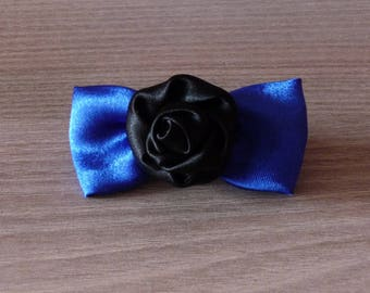 Blue bow and black flower hair clip