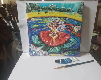 20cm x 20cm Canvas Print of original acrylic painting. On the Lilly Pond