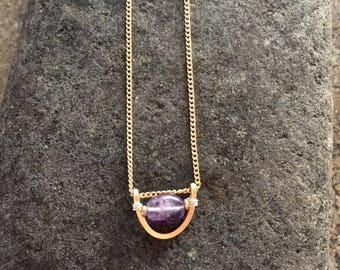 Hammered brass with purple amethyst