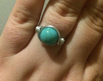 Turquoise bead wire wrapped ring