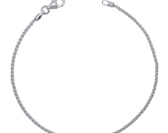 "Sterling Silver Spiga Bracelet 1.3mm 6.5"" 7"" 7.5"" inches"