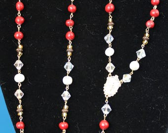 Rosary made with flower petal beads