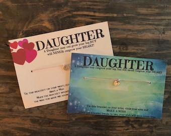 Daughter wish bracelet.Daughter charm bracelet .Heart charm bracelet.Heart wish bracelet .never outgrows your heart