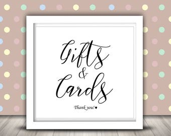 Gifts and Cards Sign, Wedding Sign, Printable Sign