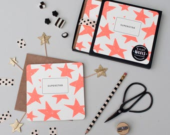 6 SUPERSTAR Thank You Cards Box Set - Thank You Cards - Square note cards & envelopes - Hand drawn scribble star Luxury Note Cards