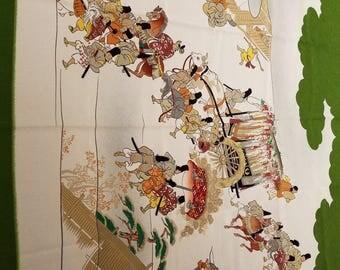 Vintage silk crepe scarf Japan 1960