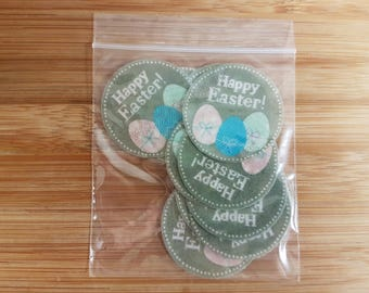 12 Edible Happy Easter Round Cupcake Cake Topper Decorations Wafer Paper Easter Eggs