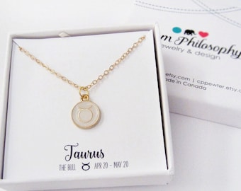 Taurus Necklace - Taurus Gift - Zodiac Necklace - Horoscope Gift - Gold and Pink Reversible Jewelry