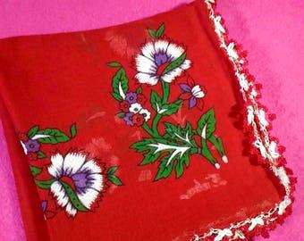 Turkish Traditional Ancient Vintage Handmade Scarf Shawl Red Scarf Red Shawl