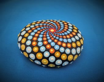 dot paintng mantala stone ((galactic circle))