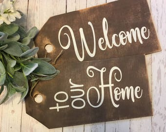 "Large ""Welcome to our Home"" Large Door tags-door tags, door decor, wreaths, door hangers, welcome sign"