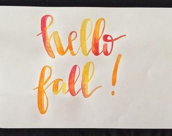 hello fall! - watercolor print