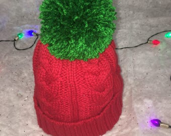 Adult Cable knit winter hat - any color pom pom