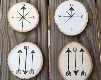 Set of 4 wood burned coasters