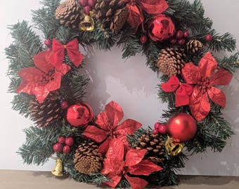 Christmas Wreath, Holiday Wreath, Christmas Front Door Wreath