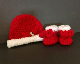 Christmas Baby Beanie & Booties Set