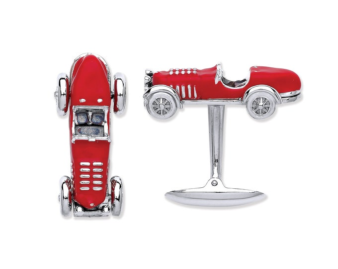 Men's 925 Solid Sterling Silver Vintage Red Bugatti Car Cufflinks Hallmarked