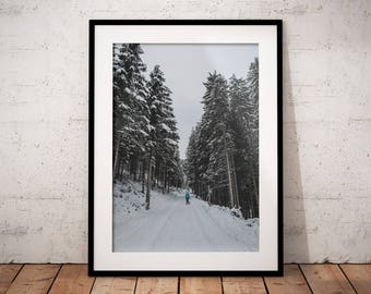 Snow cover Mountain Road, White Forest Print, Winter is Coming Poster, Nature Landscape Photography, Printable Art, Wall Deco, Digital Print