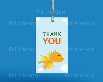 Dragon party favor/thank-you tags - Dragon birthday favor tags - Thank you/favor tags