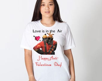 Love is in the Air Happy Anti-Valentines Day men women Short Sleeve T-Shirt