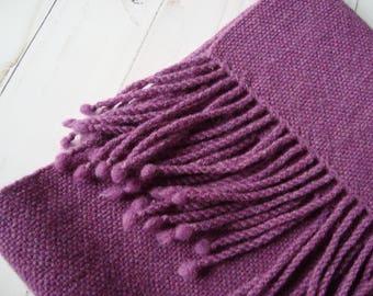 Hand woven womens wool scarf Woolen woven winter scarf fringes Lilac women scarf Wool handmade scarf Wool ladies wrap Handwoven wool scarf