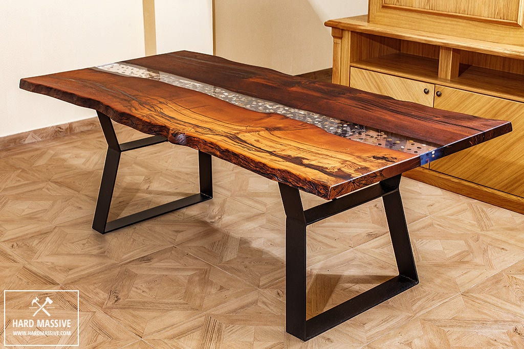 River table with stones unique dining table table wood for Diy river table
