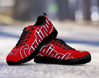 St. Louis Cardinals Baseball Fan Custom Running Black Shoes/Sneakers/Trainers - Ladies + Mens Sizes fan, collector, gift