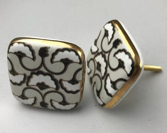 Set of 2 LARGE X Art Deco Style Black, Grey & White Patterned SQUARE knobs edged in Gold colour