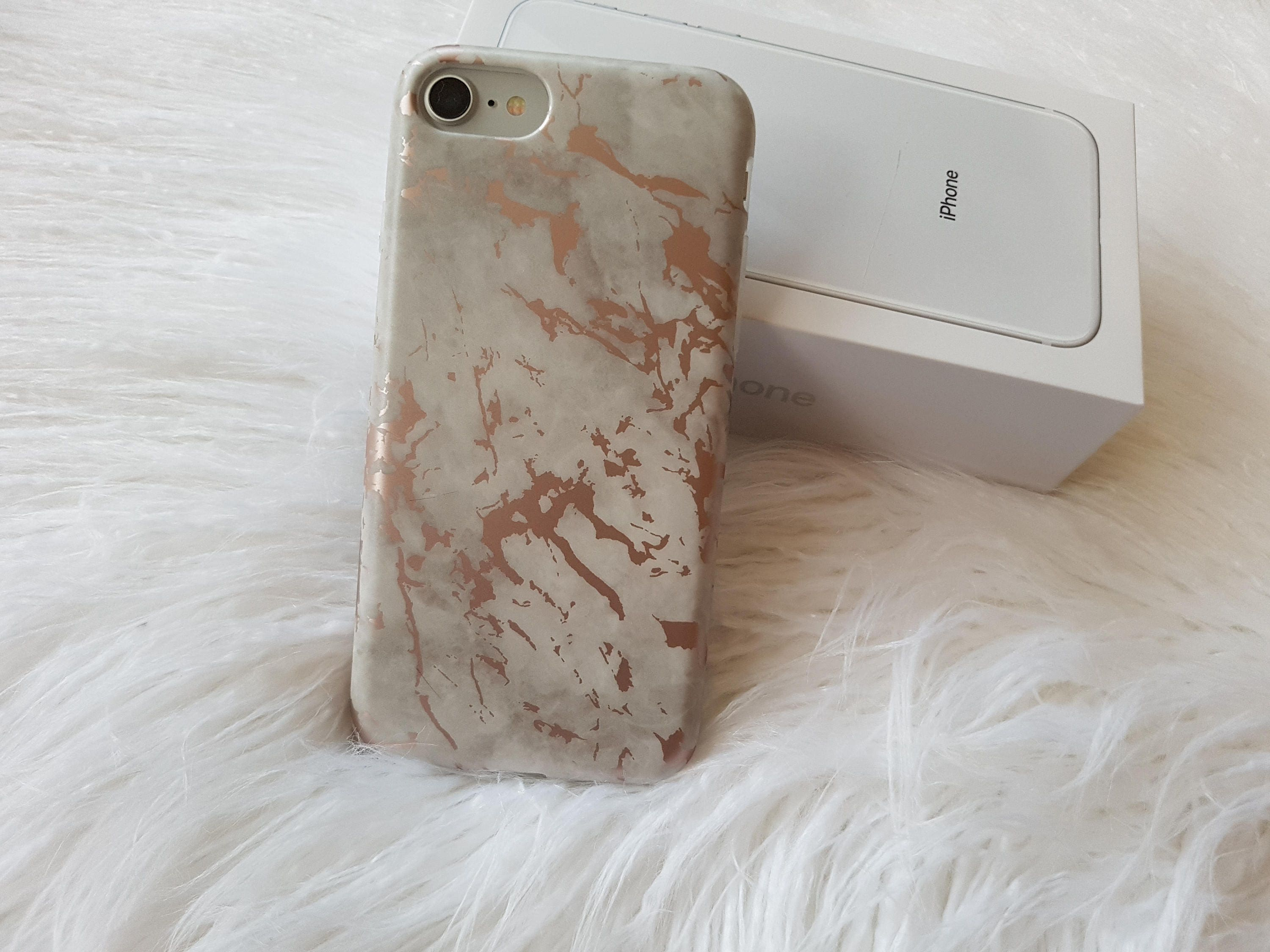 IPhone 8 Case White And Rose Gold Chrome Marble CaseiPhone 7