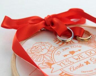 Porte-Alliance Sur Mesure Flowers imprimé à la main par sérigraphie / A personnaliser (tissu/textes/coloris) / Pièce unique / Wedding Rings