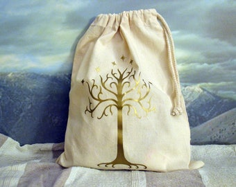 Natural and Black Dice Bag with gold  or silver print Lord of the rings Gondor Minas Tirith Tree of Gondor