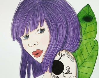 Portrait illustration the tattooed purple hair - watercolor and gouache painting